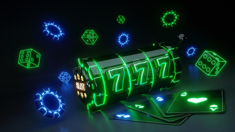 Casino Slot Machine and Chips Concept With Neon Lights Isolated On The Black Background - 3D Illustration. Casino Gambling Futuristic Concept, Slot Machine 3D vector illustration