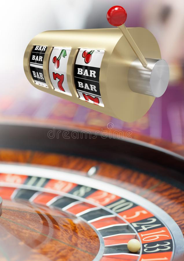 Casino slot machine in front of roulette. Digital composite of Casino slot machine in front of roulette stock illustration