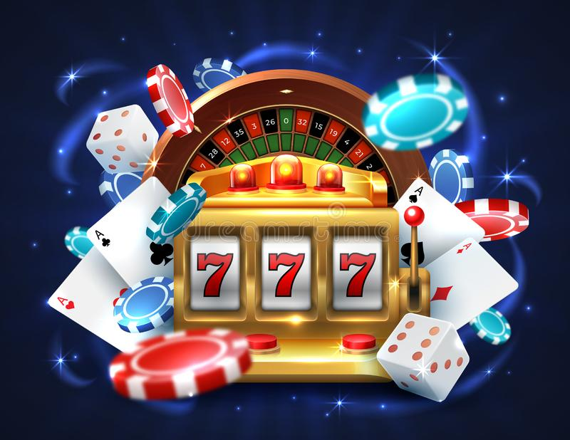 Casino 777 slot machine. Gambling roulette big lucky prize, realistic 3D vector roulette and golden sloth machine stock illustration