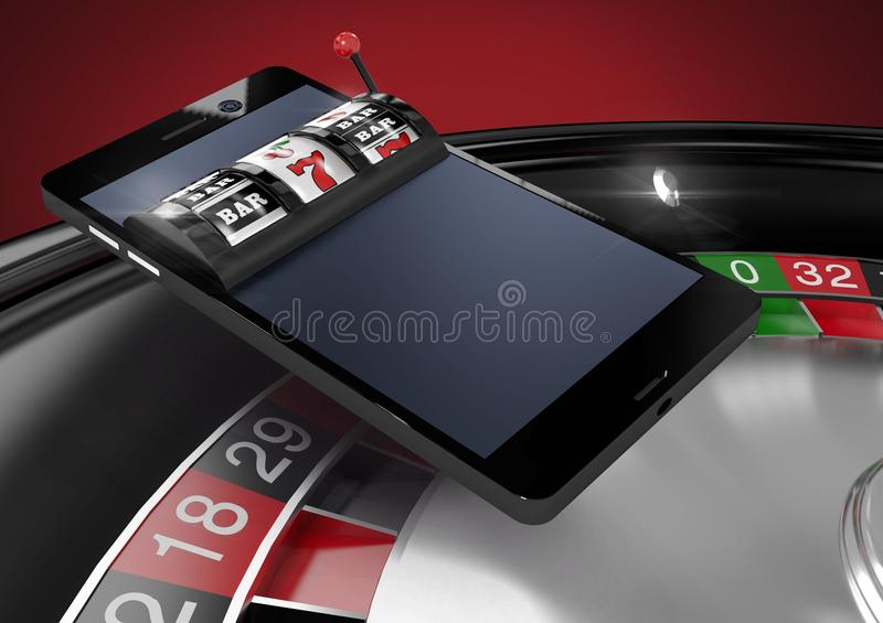 Casino slot machine on phone over roulette. Digital composite of Casino slot machine on phone over roulette vector illustration