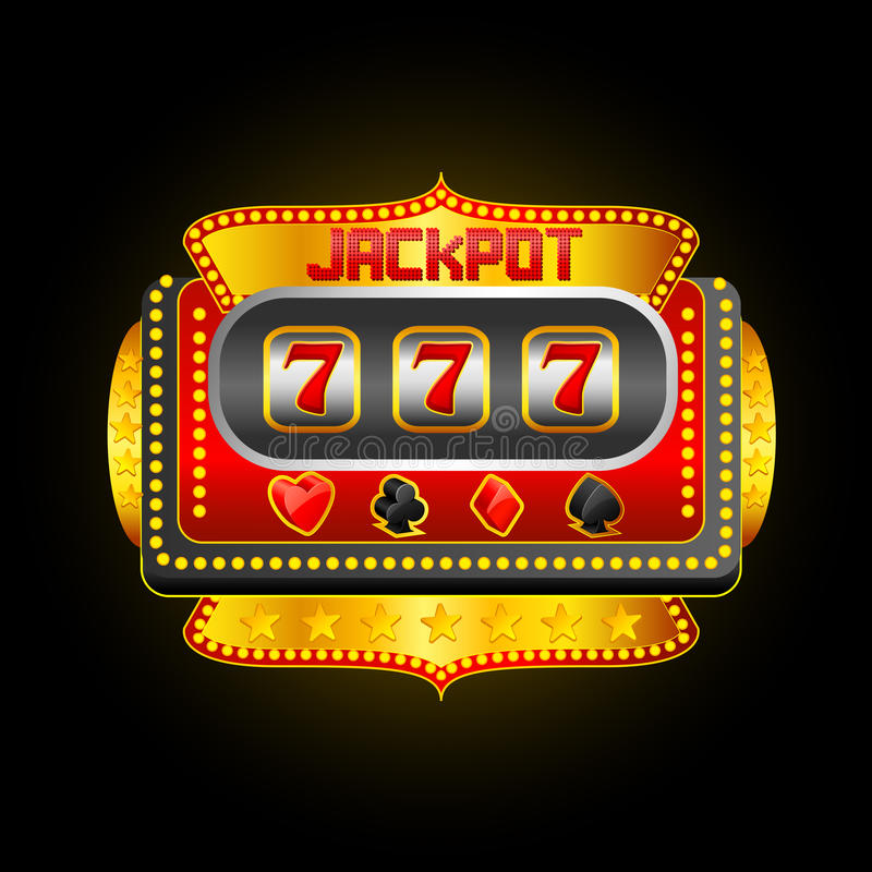 Casino Slot Machine. Vector illustration of casino slot machine showing jackpot royalty free illustration