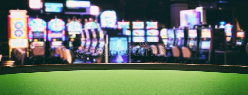 Casino slot machines, green felt roulette table closeup view. 3d illustration royalty free illustration
