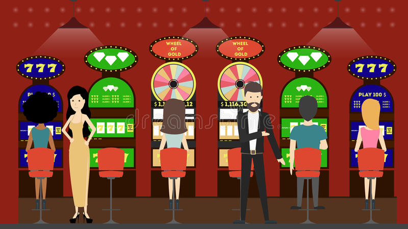 Casino slot machines. Peple in red interior play with slot machines. Winner and looser royalty free illustration
