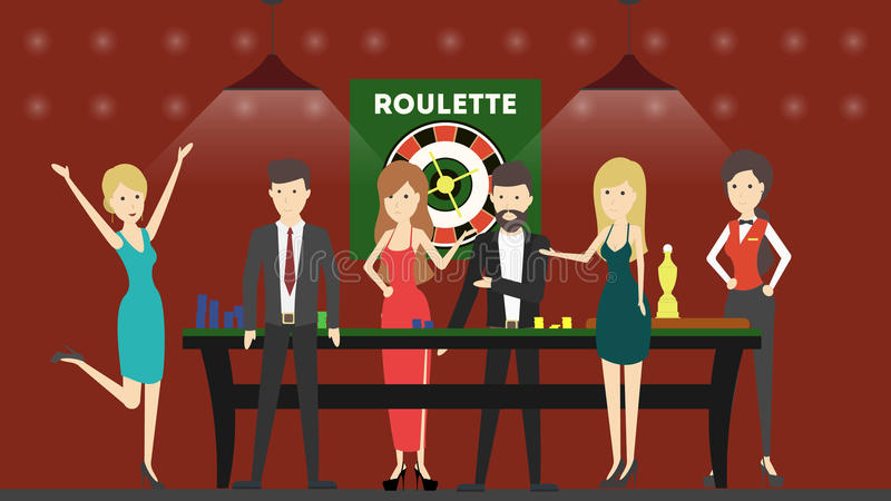 Casino slot machines. Peple in red interior play with slot machines. Winner and looser vector illustration