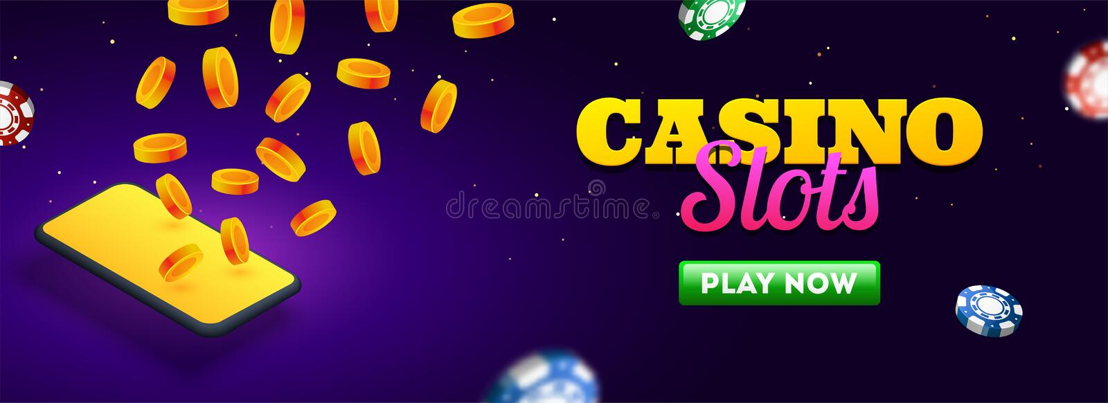 Casino slots header or banner design with smartphone, gold coins and casino chips. stock illustration