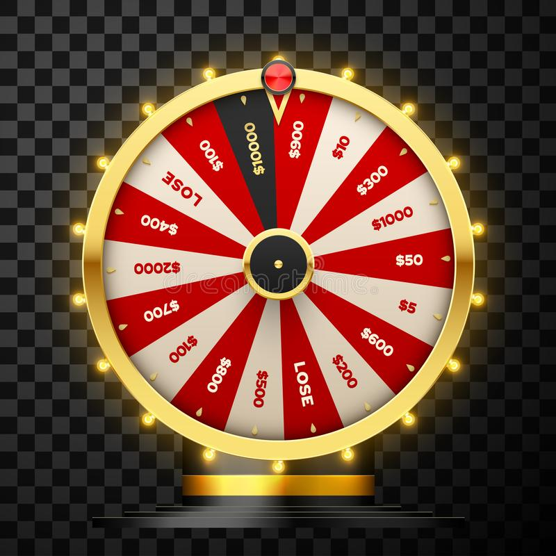 Casino spinning fortune wheel vector realistic illustration. Rotating roulette, lottery game isolated on transparent background. Gambling business. Game of vector illustration