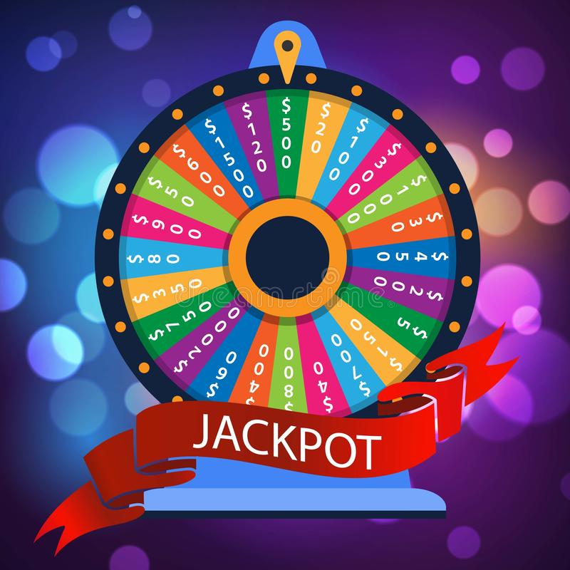 Casino spinning luck wheel or turning fortune roulette for money games entertainment, vector illustration. Jackpot. Colorful background for casino or online royalty free illustration