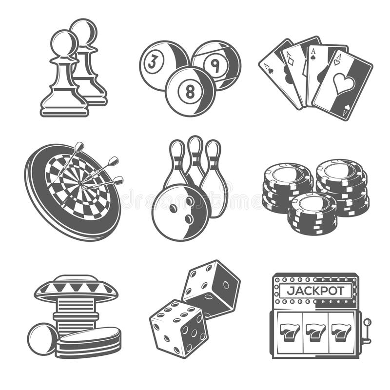 Casino Sport and Leisure Games Icons (Chess, Billiard, Poker, Darts, Bowling, Gambling Chips, Pinball, Dice and Slot Machine). Black Outline Style. Vector royalty free illustration