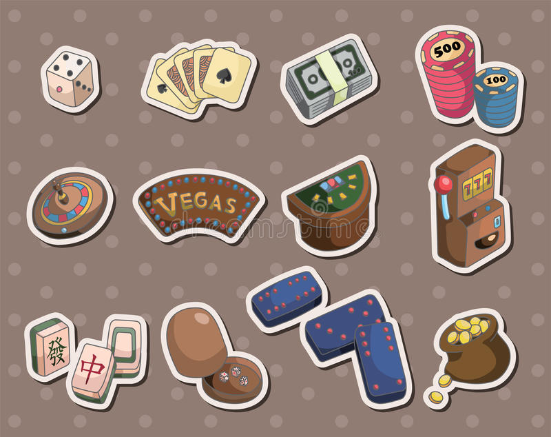 Casino stickers vector illustration
