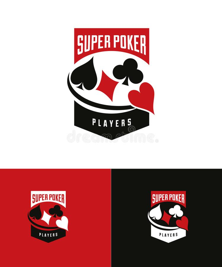 Casino super Logo Design dos jogadores de pôquer ilustração do vetor
