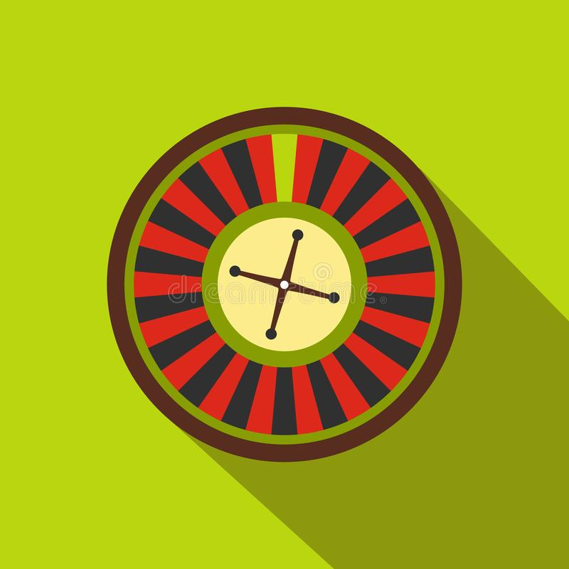 Casino symbol, roulette flat icon. On a green background vector illustration