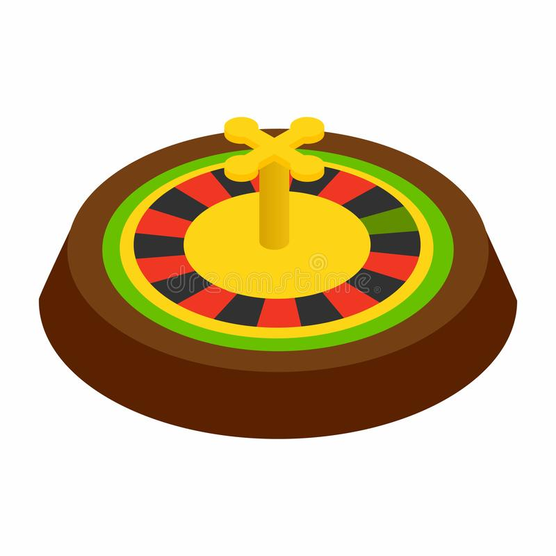 Casino symbol, roulette isometric 3d icon. On a white background stock illustration