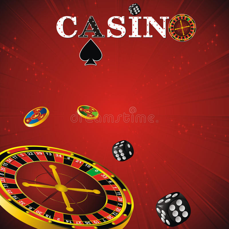 Casino symbols. Roulette wheel, dice and chips on red strip background royalty free illustration