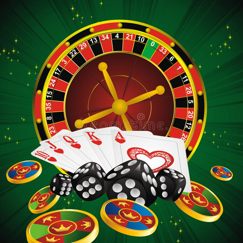 Casino symbols. Roulette wheel, cards, dice and chips on green strip background vector illustration