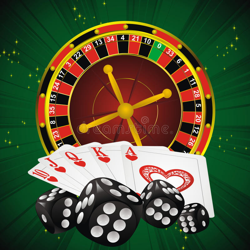 Casino symbols. Roulette wheel, dice and cards on green strip background royalty free illustration