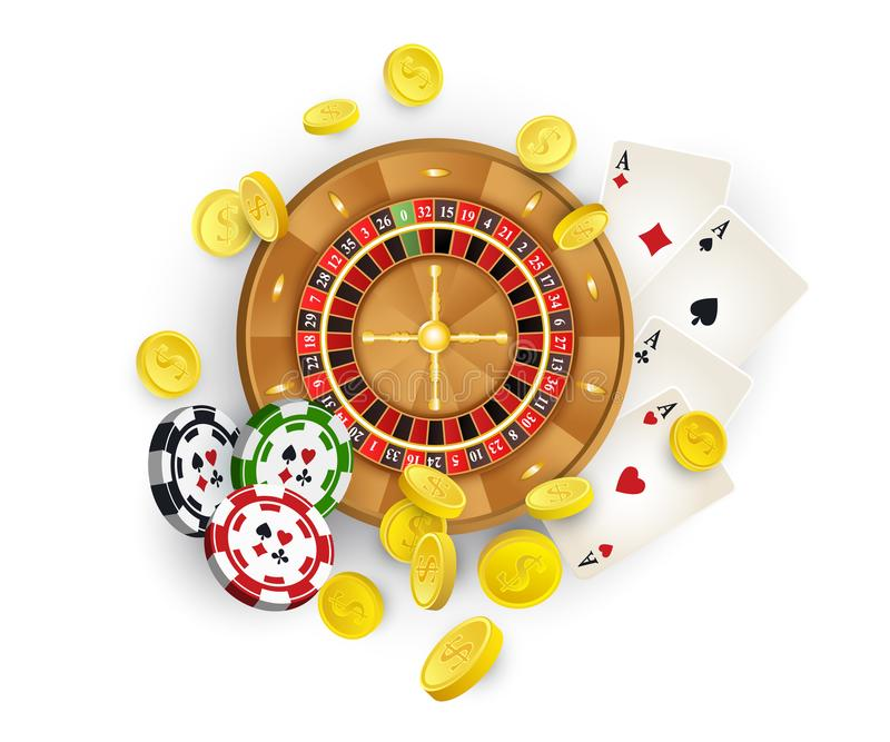 Casino symbols - roulette , chips, cards, coins. Group of casino symbols - roulette wheel, chips, tokens, playing cards, golden coins, vector illustration on stock illustration