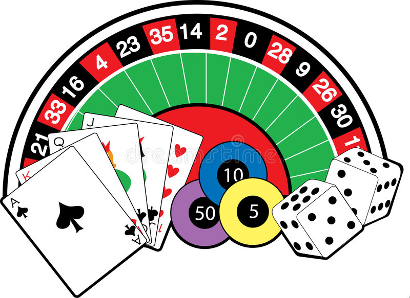 Casino table. View of a casino table with dice and cards royalty free illustration