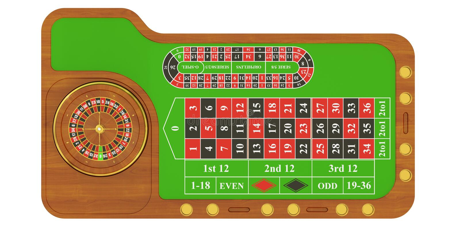 Casino table with roulette, 3D rendering stock illustration