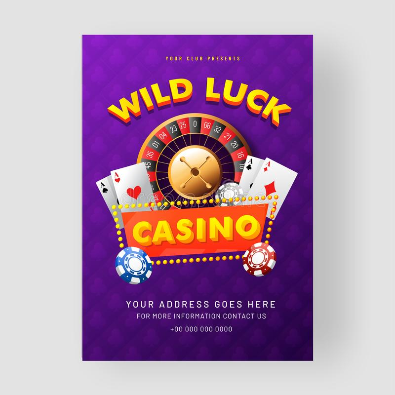 Casino template or flyer design with roulette wheel, 3d casino chips and playing card. vector illustration