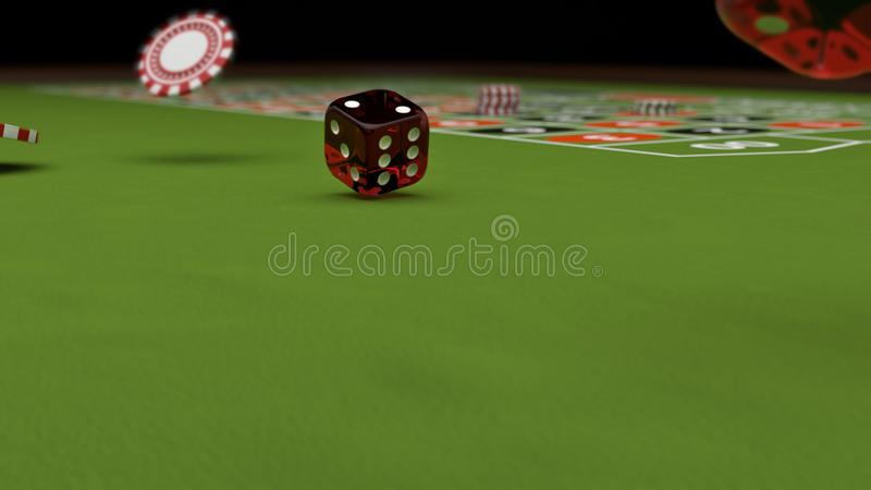 Casino theme, playing chips and red dices on a gaming table, 3d illustration.  royalty free illustration