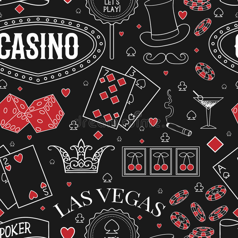 Casino theme. Seamless pattern with decorative elements on chalkboard. Gambling symbols. royalty free illustration