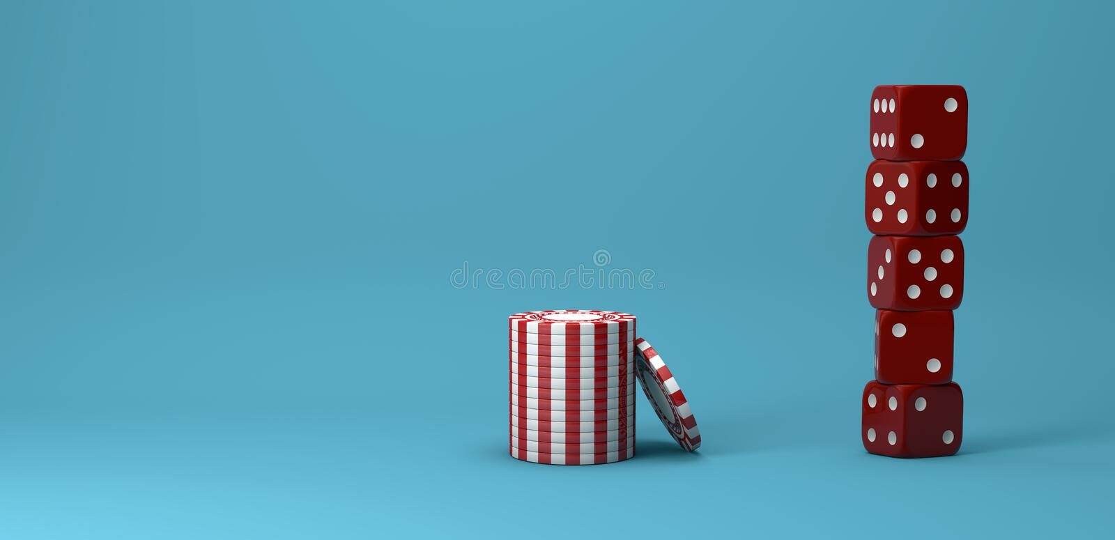 Casino theme. white with red playing chips with plastic dices. On blue background, 3d illustration stock illustration