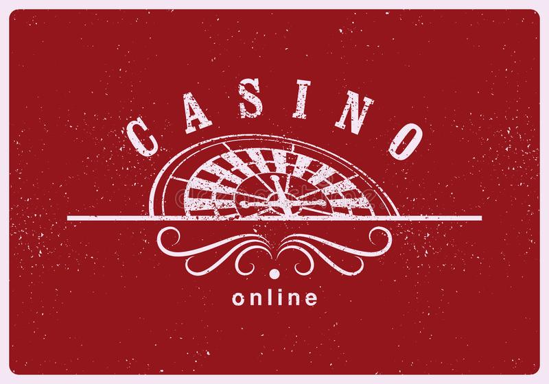 Casino typographical vintage grunge style poster with roulette wheel. Casino label, logo, badge, emblem, sign. Retro vector illust. Casino typographical vintage royalty free illustration