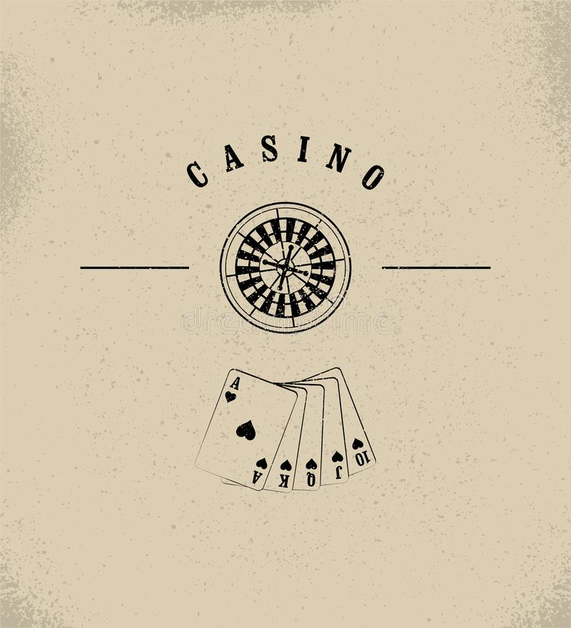 Casino typographical vintage grunge style poster with roulette wheel and playing cards. Casino label, logo, badge, emblem, sign. R. Casino typographical vintage royalty free illustration