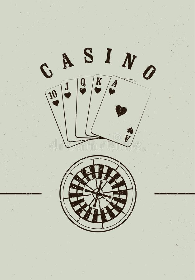 Casino typographical vintage grunge style poster with roulette wheel and playing cards. Casino label, logo, badge, emblem, sign. R vector illustration