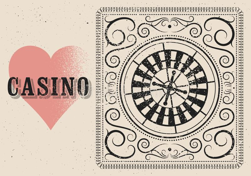 Casino typographical vintage grunge style poster with roulette wheel. Retro vector illustration. stock illustration