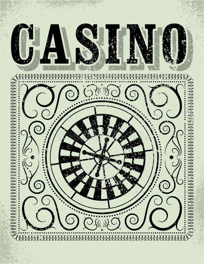Casino typographical vintage grunge style poster with roulette wheel. Retro vector illustration. Casino typographical vintage grunge style poster with roulette vector illustration