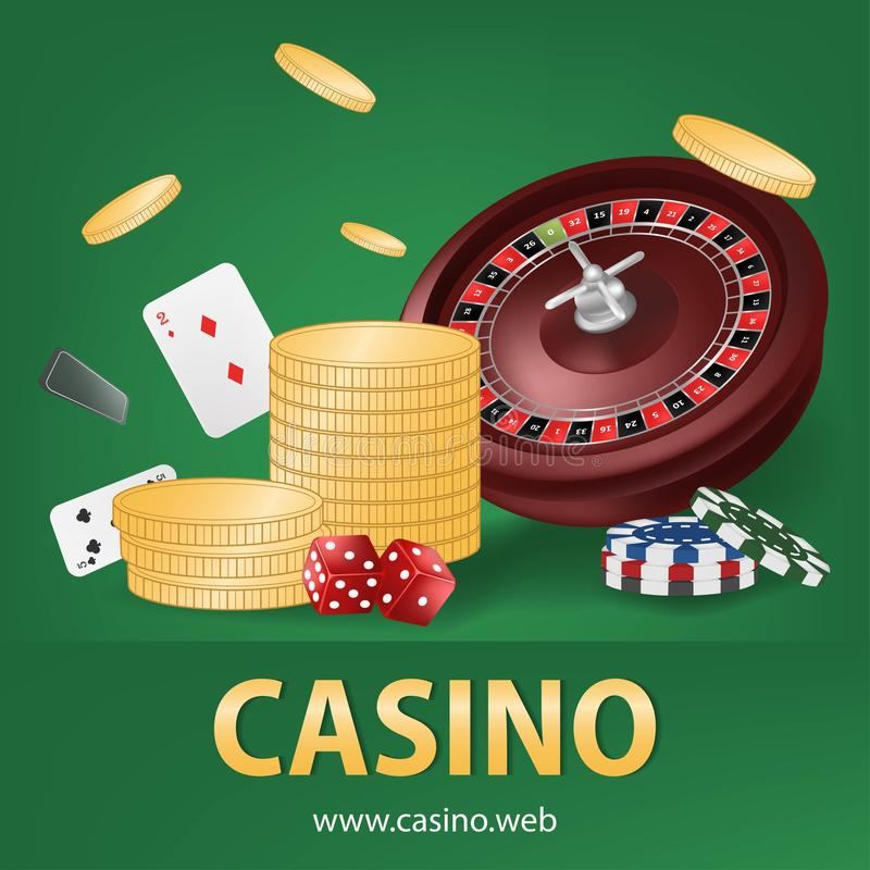 Casino roulette with gold coin, chips, red dice, cards realistic gambling poster banner. Casino vegas fortune roulette royalty free illustration