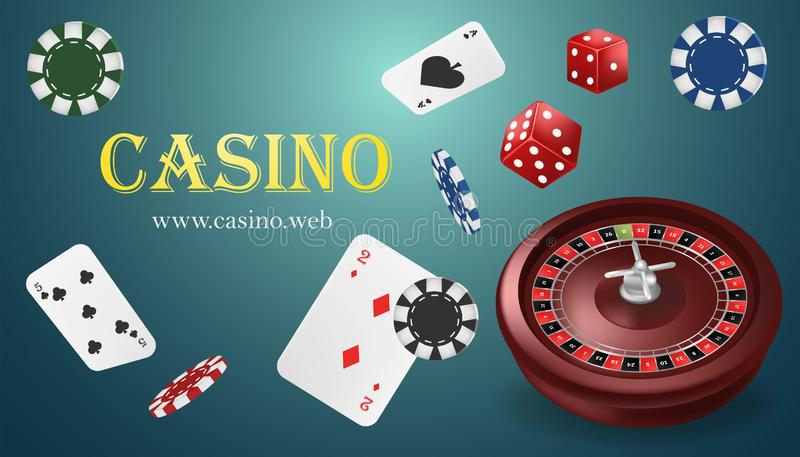 Casino roulette with chips, red dice realistic gambling poster banner. Casino vegas fortune roulette wheel design flyer. Blue. Casino vegas fortune roulette royalty free illustration