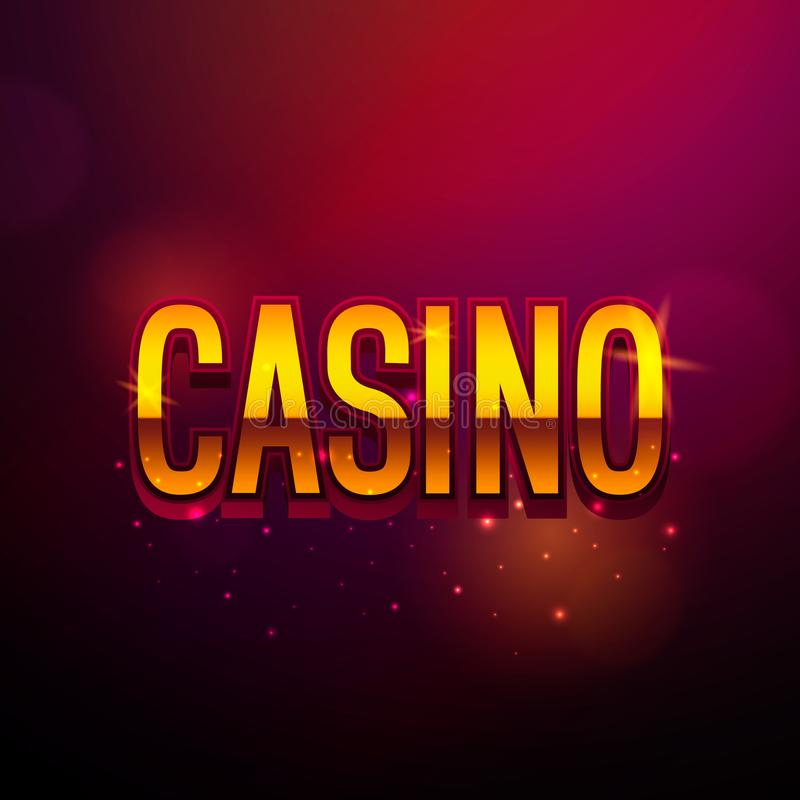 Casino vintage banner with golden text. Vector retro sign. royalty free illustration