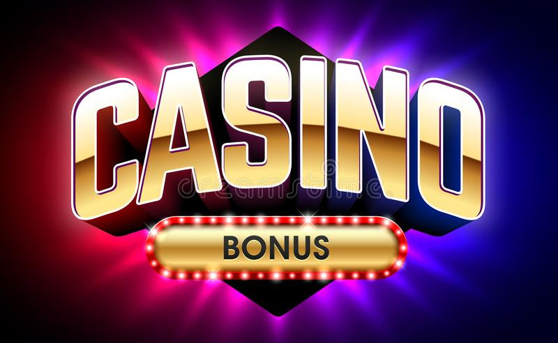 Casino Welcome Bonus banner. First deposit bonus stock illustration