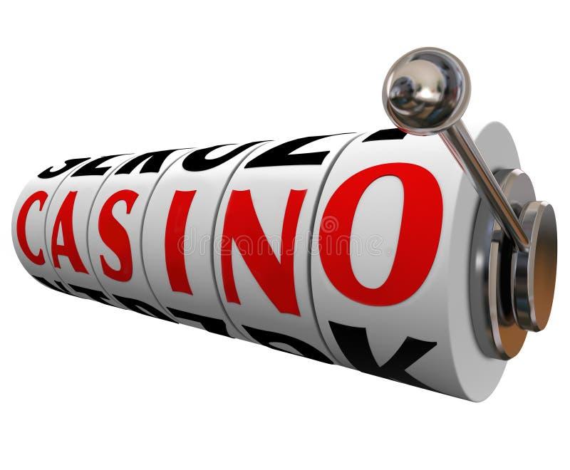 Casino Word Slot Machine Wheels Gambling Betting. The word Casino on slot machine wheels to symbolize a fun gambling destination such as Las Vegas or other royalty free illustration