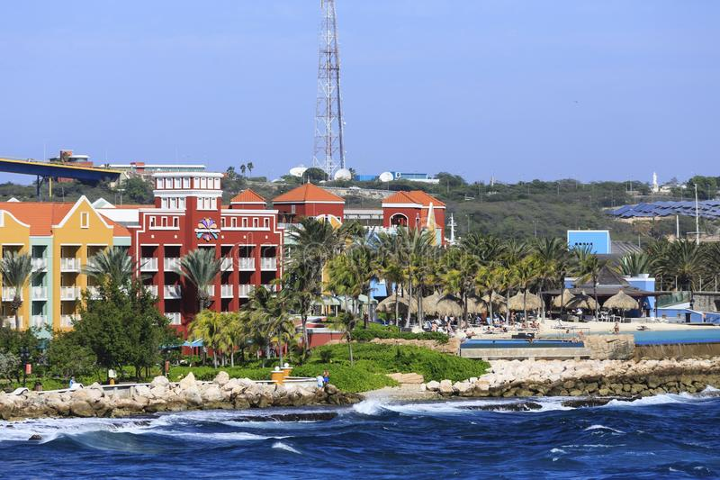 Casino y playa de Curaçao foto de archivo libre de regalías