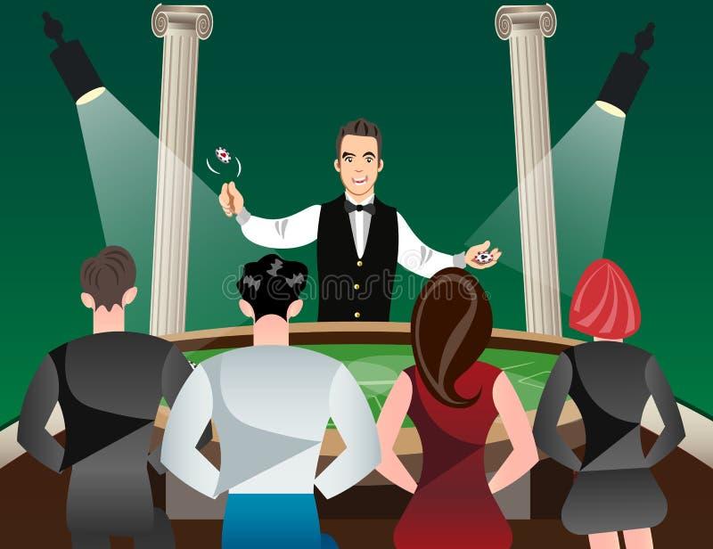 Casino y ruleta con las mujeres y el crupié de los hombres libre illustration