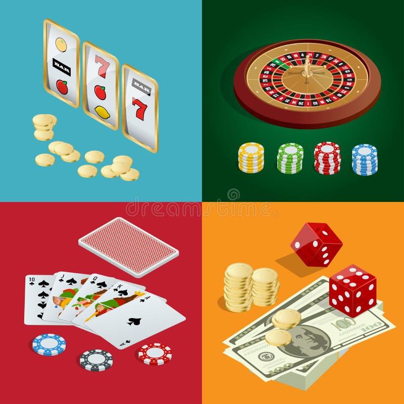 CASINOconcept Casinoachtergrond met kaarten, spaanders, craps en roulette Vlakke 3d Vector isometrische illustratie stock illustratie