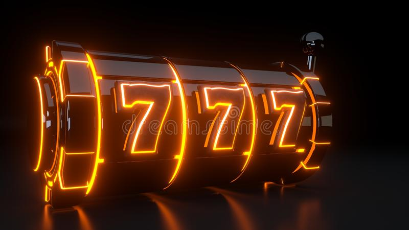 Casinogokautomaat het Gokken Concept met Neon Oranje die Lichten op de Zwarte Achtergrond worden geïsoleerd - 3D Illustratie stock illustratie