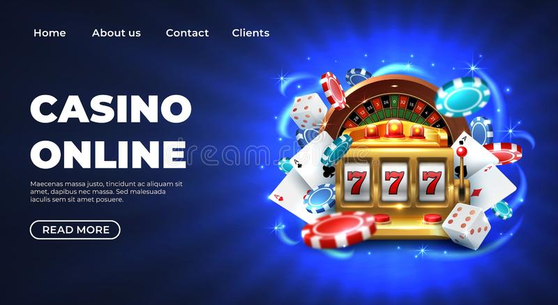 Casinolandingspagina De gokkende grote gelukkige prijs van de roulettewebsite, realistische 3D vectorillustratie 777 gokautomaat royalty-vrije illustratie