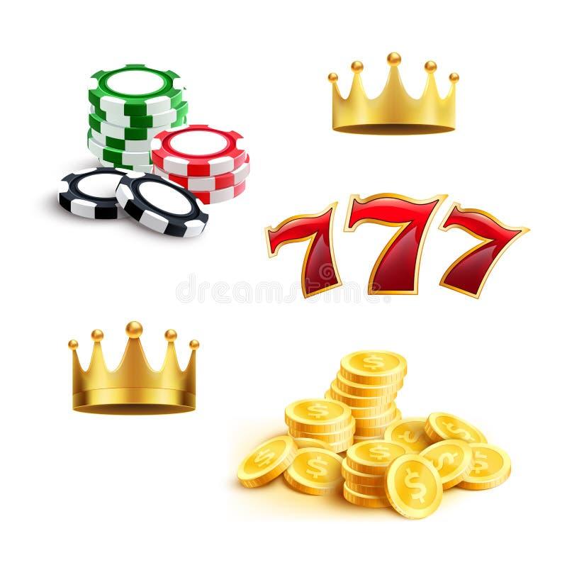 Casinopictogram van gokkenspaander, muntstuk en drievoud zeven royalty-vrije illustratie
