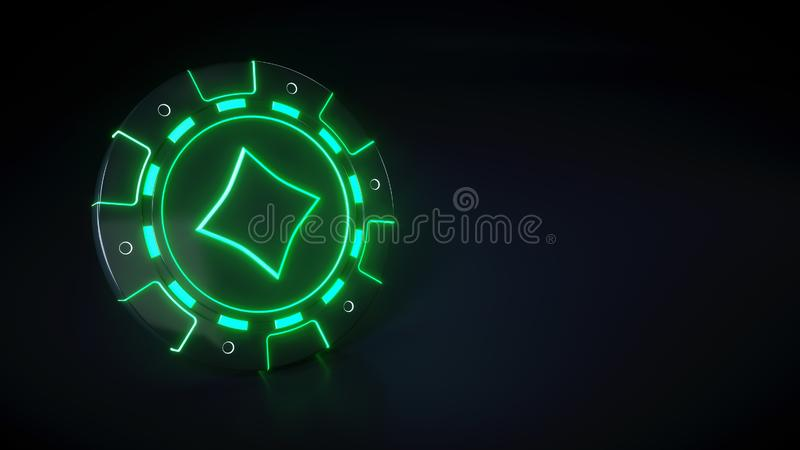 Casinospaander met het gloeien van neon groene die lichten en diamanten symbool op de zwarte achtergrond wordt geïsoleerd - 3D Il vector illustratie