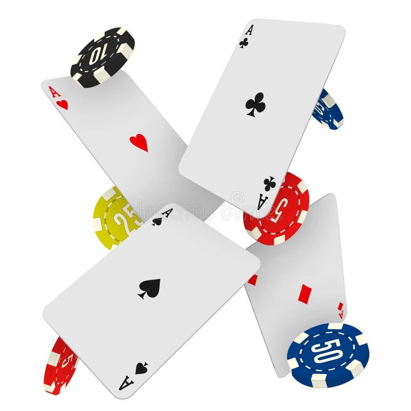 Casinospaanders en azen die op een witte achtergrond vallen Vector illustratie stock illustratie