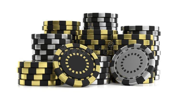 Casinospaanders op witte achtergrond 3D Illustratie vector illustratie