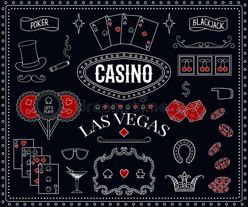 Casinothema Decoratieve ontwerpelementen op bord Gokkende symbolen royalty-vrije illustratie