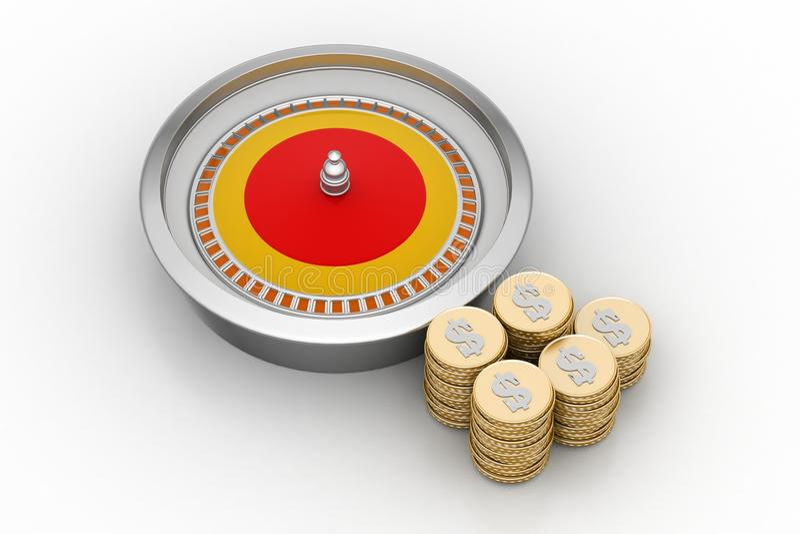 Casinowielen met gouden muntstukken royalty-vrije illustratie