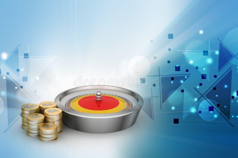 Casinowielen met gouden muntstukken vector illustratie