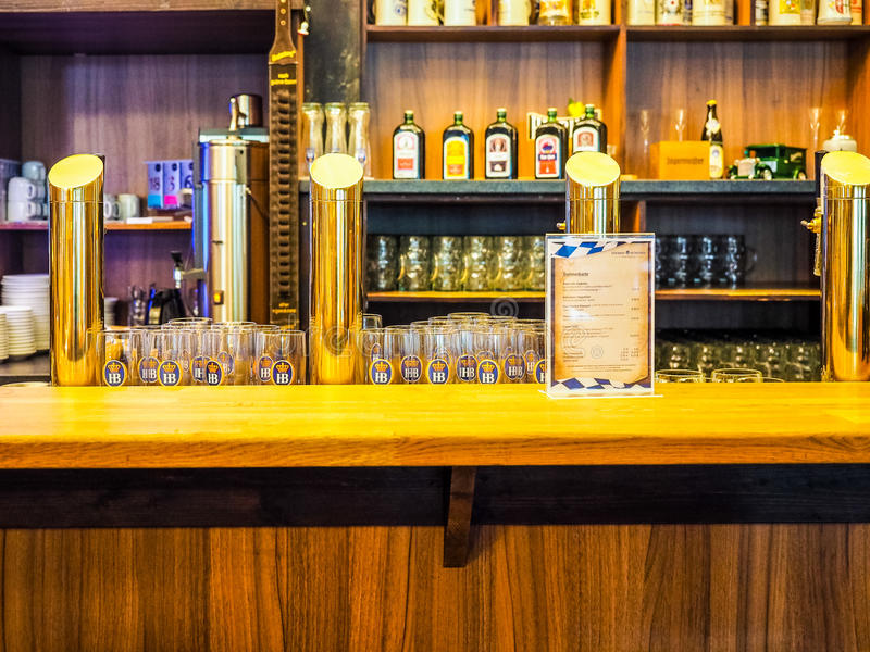 Cask beers in Hamburg hdr stock image