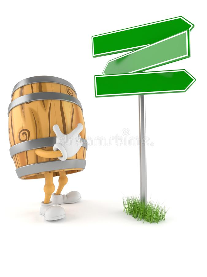 Cask character with blank signpost. Isolated on white background. 3d illustration royalty free illustration